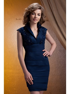 V-neck Knee-length Tiered Lace Embellishing Mother of The Bride Dress & simple Mother of the Bride Dresses