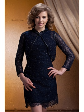 Elegant Lace V-Neck Knee-Length Sleeveless Mother of the Bride Dress With Jacket/Shawl & Mother of the Bride Dresses under 100