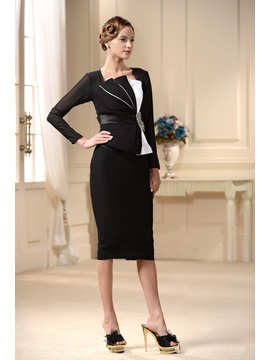 Graceful Sheath Long Sleeves Crystal Knee-Length Semi-Formal Mother/Office Dress & Mother of the Bride Dresses under 100