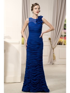 Delicated Pleats Flowers Sheath Round Neckline Floor-Length Mother of the Bride Dress & simple Mother of the Bride Dresses