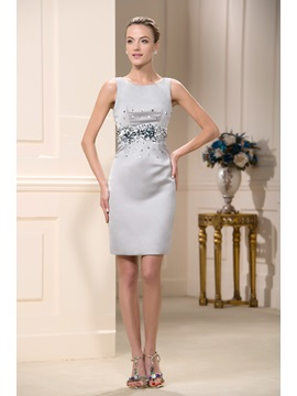 Elegant Jewel Neck Sequin Beaded Sheath Short Mother Of The Bride Dress & informal Mother of the Bride Dresses