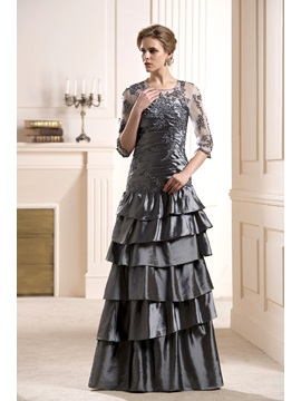Appliques Tiered Scoop Neckline 3/4-Length Sleeves Long Mother of the Bride Dress & Mother of the Bride Dresses under 100