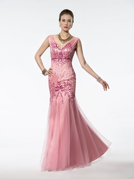 Wonderful Mermaid/Trumpet Floor-length V-Neck Beading Zipper-up Evening Dress & colorful Mother of the Bride Dresses