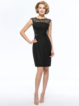 Sheer Lace Jewel Neck Short Black Mother Of The Bride Dress & Mother of the Bride Dresses under 300