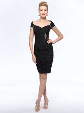 Sheath/Column Sensual Off-The-Shoulder Black Short Mother of the Bride Dress & casual Mother of the Bride Dresses
