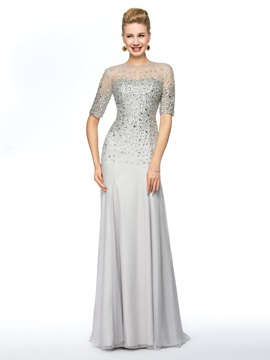 Elegant Jewel Neckline Half Sleeves Beaded Mother of the Bride Dress Long Online & casual Mother of the Bride Dresses