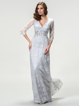 Timeless V-Neck Lace Long Sleeve Mother of the Bride Dress & informal Mother of the Bride Dresses