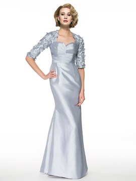 Keyhole Back Half Sleeves Flowers Long Mother of the Bride Dress & Mother of the Bride Dresses online