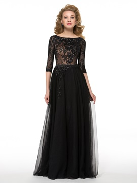 Half Sleeves Floor-Length Sequins Lace Mother of the Bride Dress & Mother of the Bride Dresses 2012