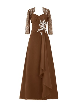 Spaghetti Straps Floor-Length Chiffon Mother of the Bride Dress with Lace Jacket & formal Mother of the Bride Dresses