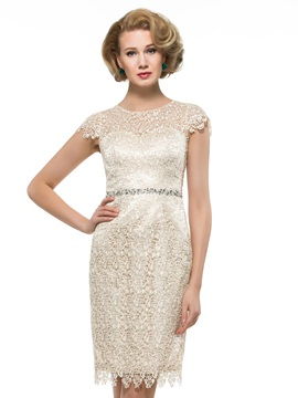 Knee Length Sheath Lace Mother Dress with Crystal Belt & quality Mother of the Bride Dresses