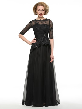 Floor Length A-Line Bateau Neck Half Sleeve Mother of the Bride Dress & romantic Mother of the Bride Dresses