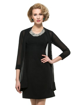 Beaded Jewel Neck Black Mini Mother of the Bride Dress with Jacket & Mother of the Bride Dresses for less