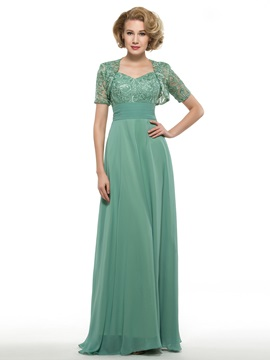Spaghetti Straps V-Neck Lace Top Chiffon Mother Dress with Jacket & Mother of the Bride Dresses from china