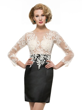 Lace Appliques Jewel Neck Long Sleeve Sheath Mini Mother Dress & unique Mother of the Bride Dresses