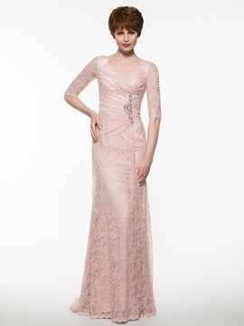 Elegant V Neck Half Sleeves Sheath Lace Mother the Bride Dress & fairy Mother of the Bride Dresses