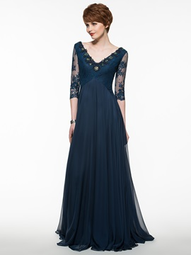 Beautiful V Neck A Line Mother of the Bride Dress With Sleeves & casual Mother of the Bride Dresses
