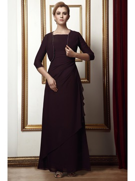 Glamorous Column Square Neckline Ankle-length Alina's Mother of the Bride Dress With Jacket/Shawl & Mother of the Bride Dresses on sale