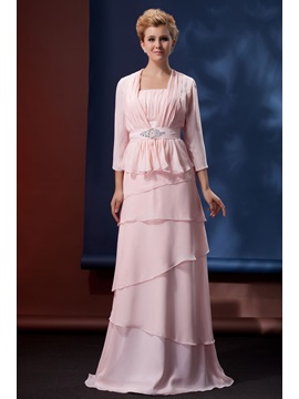 Elegant A-Line Floor Length Strapless Alina's Mother of The Bride Dress With Jacket/Shawl