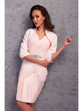 Charming Column V-Neck Pleats Beading Knee-Length Renata's Mother of the Bride/Formal Dress With Jacket/Shawl & Mother of the Bride Dresses on sale