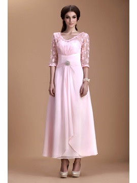Charming Lace A-Line V-Neck Half-Sleeves Ankle-Length Natilie's Mother of the Bride Dress & Mother of the Bride Dresses 2012
