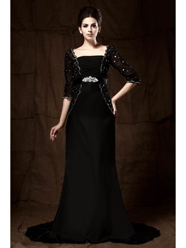 Delicated Lace Sequins Beading Sheath Half Sleeves Court Train Floor-Length Mother of the Bride Dress & Mother of the Bride Dresses on sale