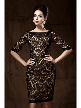 Timeless Sheath Lace Knee-Length Bateau Neckline Mother of the Bride/Formal Dress & Mother of the Bride Dresses under 300