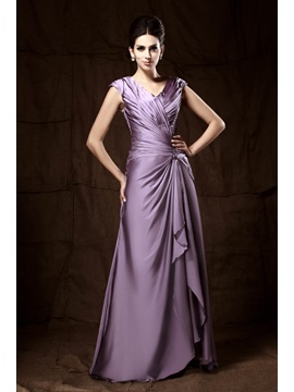 Attractive Pleats Column V-neck Floor-length Mother Of The Bride Dress & informal Mother of the Bride Dresses