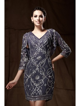 Charming Beading/Sequins Knee-Length Column V-Neck Mother Of The Bride Dress & attractive Mother of the Bride Dresses