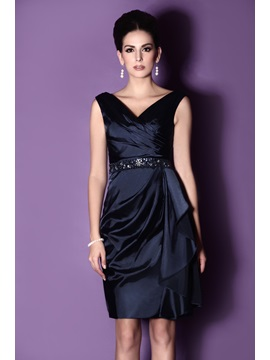 Draped Sheath/Column V-neck Knee-length Beaded Taline's Mother of The Bride Dress & Mother of the Bride Dresses on sale
