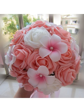 Cloths Pink And White Rose Pearl Wedding Bouquet