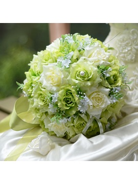 Best Cloths Green And Ivory Flowers Wedding Bouquet