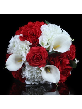 Best Red Cloths Hydrangea Bouquet Manual Simulation Flower Wedding Bouquet