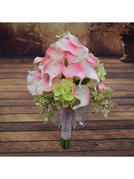 Delicate Pink PU Feel Calla Lily Flower Wedding Bouquet