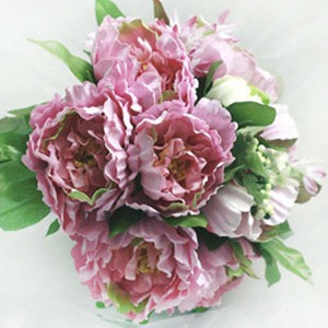 Remarkable 10 Pieces Pink Silk Cloth Peony Wedding Bridal Wrist Bouquet