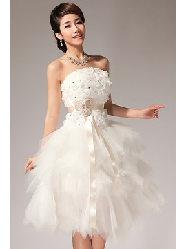 Charming Strapless Beading Flowers Ribbons Short Sweet 16 Dress