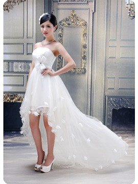 Stunning Ball Gown Strapless Ruffles Flowers High-low Wedding Dress & colored Wedding Dresses