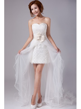 Beautiful Strapless Bowknot Lace Beach Wedding Dress with Detachable Train & quality Wedding Dresses