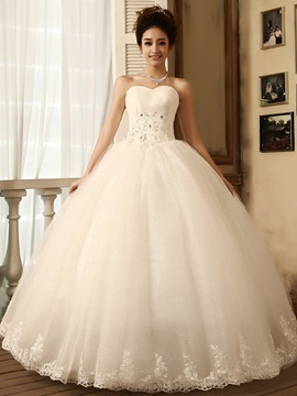 Graceful Ball Gown Floor-Length Sweetheart Ruffles Flowers Lace Wedding Dress & simple Wedding Dresses