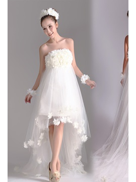 Charming Flowered Asymmetrial A-line Strapless Beach Wedding Dress & simple Wedding Dresses