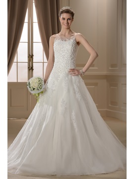 Terrific A-line Jewel Neckline Appliques Chapel Train Wedding Dress & fairy Wedding Dresses