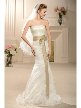 Amazing Trumpet/Mermaid Floor-length Strapless Court Lace Wedding Dress & fairy Wedding Dresses