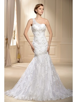 Mermaid One-shoulder Chapel Train Lace Wedding Dress & Wedding Dresses for less