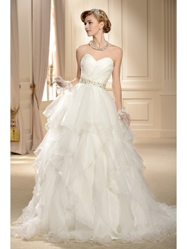 Gorgeous Ball Gown Sweetheart Tiered Chapel Wedding Dress & fairy Wedding Dresses
