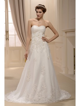 Pretty A-line Sweetheart Appliques Sweeping Train Wedding Dress & fairytale Wedding Dresses