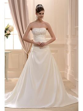 Sale A-Line Strapless Chapel Satin Bridal Gown & casual Wedding Dresses