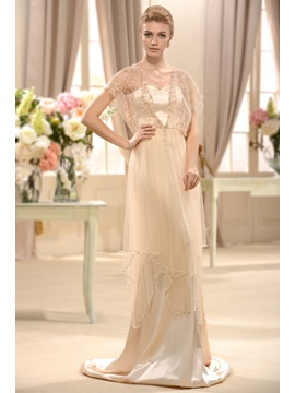 Empire V-Neck Short-Sleeves Court Train Beading Wedding Dress & Wedding Dresses under 500