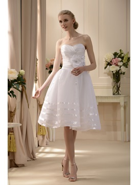 Elegant A-line Sweetheart Tea-length Flowers Wedding Dress & Wedding Dresses on sale