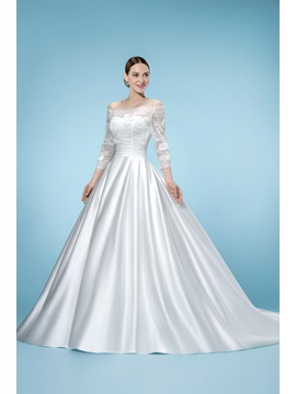 Junoesque Off-the-Shoulder 3/4 Length Sleeves Floor-Length Wedding Dress & Wedding Dresses under 300