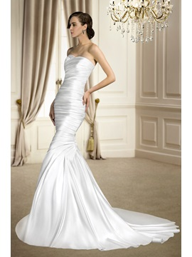 Trumpet/Mermaid Sleeveless Ruched Sweetheart Court Train Matte Satin Wedding Dress & Wedding Dresses under 100